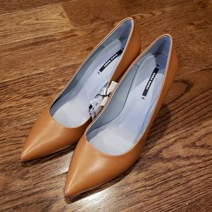 Zara Cognac leather pointed pumps 6.5 37
